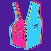 arte vectorial de un chaleco unisex con dos lados y con el símbolo masculino y femenino en él. chaqueta de neón con un fabuloso material rosa y azul. Abrigo sin mangas elegante y clásico. vector