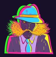Vector of a neon gentleman mobster from the mafia with mutton cops beard and mustache. Hairy man in a suit wearing a fedora hat and a glowing tie.