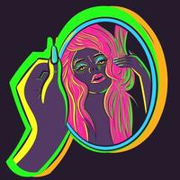 Vector art of a woman with pink hair holding a mirror and flipping her hair with her hand. Illustration of a fabulous girl under neon lights admiring herself in the reflection.