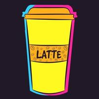 Neon plastic cup of coffee with a name written on it. Liquid Latte with caffeine in a yellow container vector
