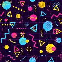 Geometric seamless pattern with minimalist and modern shapes. Repetitive background with triangles, lines, circles and dots. Colorful digital space and funky party conceptual art. vector