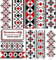 Vector pack with romanian and moldavian seamless patterns and title borders. Collection of balkan folkloric and national motifs with black and red shades. Bulgarian and hungarian fabric and textures.