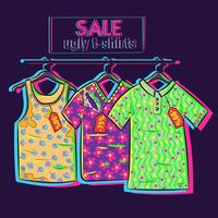 Conceptual art about clearance and summer sale with big discounts and offers. Drawing og ugly shirts with floral neon prints on discount vector