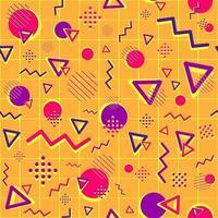 patrón geométrico sin fisuras con formas púrpuras y magentas. repetitivo fondo psicodélico y funky con círculos, triángulos y líneas en zigzag. Fondo de pantalla de negocios creativos para sitios web. vector