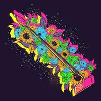 Vector art of a gardening object under neon lights and a field of flowers. Pink fancy and fabulous hoe near sunflowers, poppies and lilies. Farming and agriculture tool with glitters and sparkles.