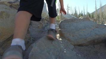 un niño caminando por un sendero en las montañas. video