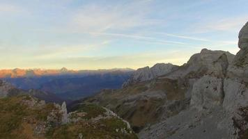 Aerial view of mountain landscape at sunset. video