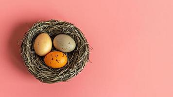 Easter eggs in a natural nest with bird eggs on a pink background. View from above.Banner photo