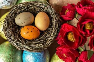 Background from Easter eggs in pastel colors, natural nest and flowers. Easter concept photo