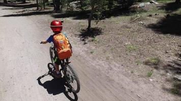 un garçon fait du vélo de montagne sur un sentier de terre à voie unique dans les bois. video