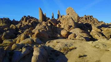Scenic aerial drone view of a rocky desert landscape. video