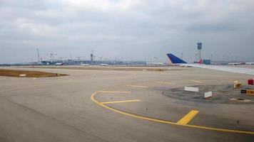 Seoul, Korea, Jan 02, 2016 - View of an airport through an airplane window photo
