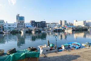 Seoul, Korea, Jan 02, 2016 - Fishing boats docked photo