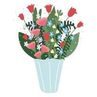 bouquet flowers decoration vector