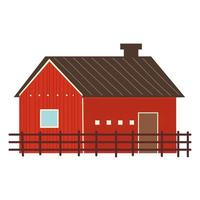 farm and agriculture wooden barn and fence vector