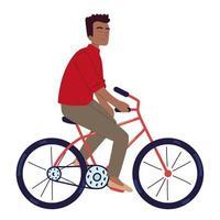 hombre montando bicicleta vector