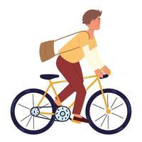 joven montando bicicleta vector