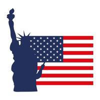american flag statue liberty vector
