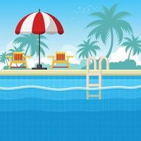 Swimming Pool Side View vector