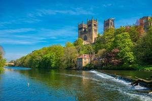 Durham Cathedral and River Wear in Spring in Durham, England photo