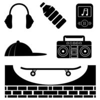 Skateboarding icons set. Boys patches collection. Vector illustration of glyph boys icons, such as headphones, bottle, skateboard, cap and boom box