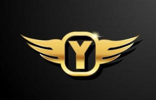 y gold letter logo alphabet for business and company with yellow color. Corporate brading and lettering with golden metal design and wing vector