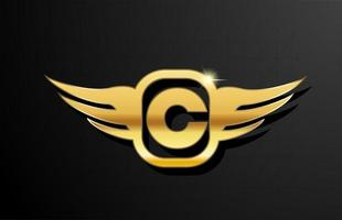 C gold letter logo alphabet for business and company with yellow color. Corporate brading and lettering with golden metal design and wing vector