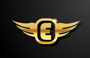 E gold letter logo alphabet for business and company with yellow color. Corporate brading and lettering with golden metal design and wing vector