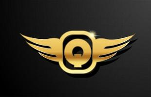 Q gold letter logo alphabet for business and company with yellow color. Corporate brading and lettering with golden metal design and wing vector