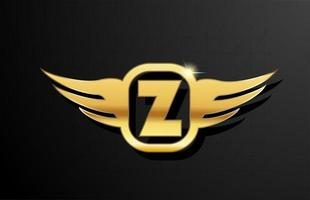 Z gold letter logo alphabet for business and company with yellow color. Corporate brading and lettering with golden metal design and wing vector