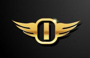 I gold letter logo alphabet for business and company with yellow color. Corporate brading and lettering with golden metal design and wing vector