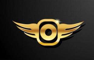 O gold letter logo alphabet for business and company with yellow color. Corporate brading and lettering with golden metal design and wing vector