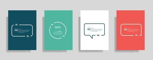 Quotes frame blank templates set, Text in brackets, citation empty speech bubbles. Text bos isolated on color background. vector