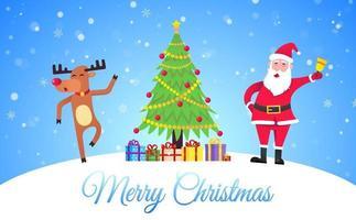 santa claus y la nariz roja reno navideño bailando y desea feliz navidad vector