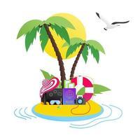 tiempo para viajar verano playa vacación vacaciones afiche o pancarta plano estilo diseño vector ilustración conceptos aislado blanco fondo texto isla playa sombrero equipaje maleta pasaporte billetes signo
