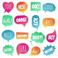 16 burbujas de discurso diseño de estilo de gradiente plano otras formas con texto amor sí como lol cool wow boom sí dibujado a mano ilustración de vector de conjunto de estilo de dibujos animados cómico aislado sobre fondo blanco