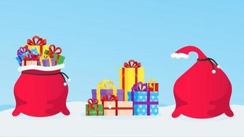 New Year or christmas gift bag full of gifts, pile of presents boxes vector