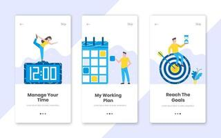 3 vertical time management banners set with work time planning flat style design vector illustration.