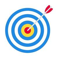 Target with arrow in the bullseye with heavy shadow on it. Goal achieving symbol icon sign vector illustration isolated on white background