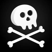 Simple flat style design skull with crossed bones icon sign vector illustration isolated on black background Human part head Jolly Roger pirate flag symbol or halloween element of scary decoration