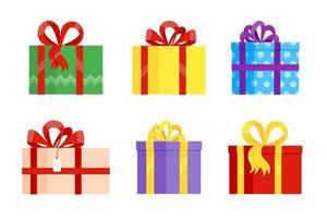 Set of various gift boxes with big ribbon and bow on it flat style design vector