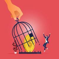 Freedom finance concept-Freedom money stuck in the birdcage vector