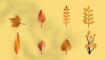 Set of eight Autumn leaves vector