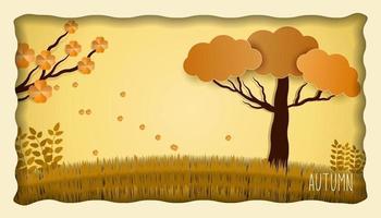 Autumn season vector illustration in papercut style