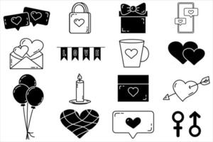 un conjunto de elementos vectoriales editables colección del día de San Valentín con iconos aislados de trazo editable sobre un fondo blanco vector