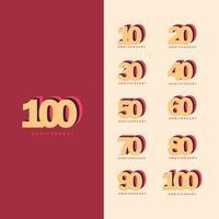 100 Years Anniversary Set Vector Template Design Illustration