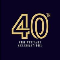 Ilustración de diseño de plantilla de vector de celebración de 40 aniversario
