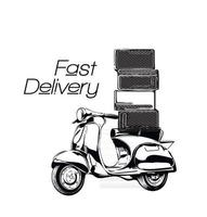 Fast and delivery. Vector illustration. Vintage style. Food service. Retro bike.