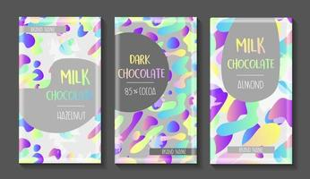 Vector set of chocolate bar package designs.