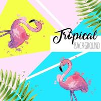 Tropical leaves and flamingo summer banner. Graphic background. vector